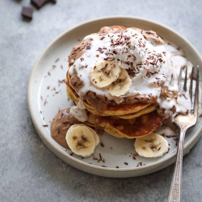 Paleo Banoffee Pancakes with Date Caramel