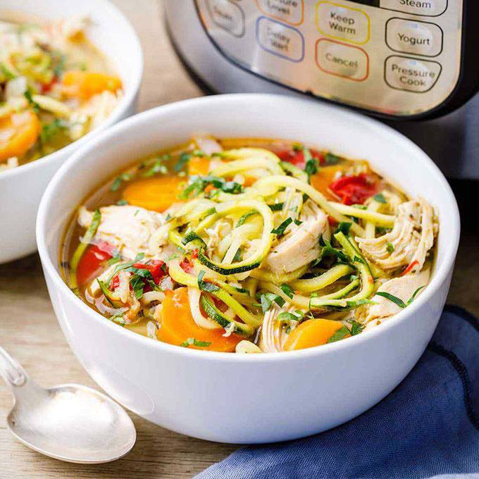 Paleo Chicken Bone Broth Soup with Zucchini Noodles