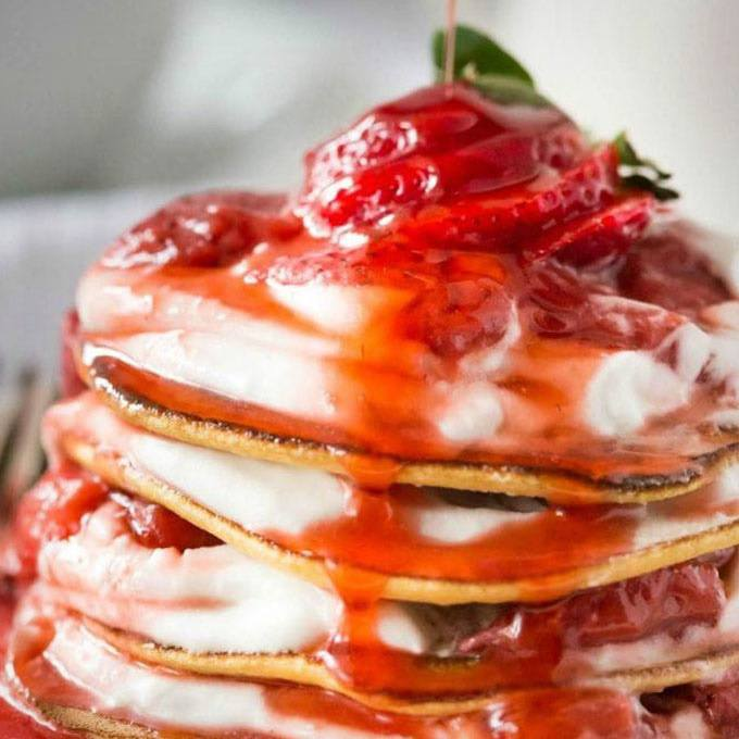 Paleo Crepes with Strawberry Sauce
