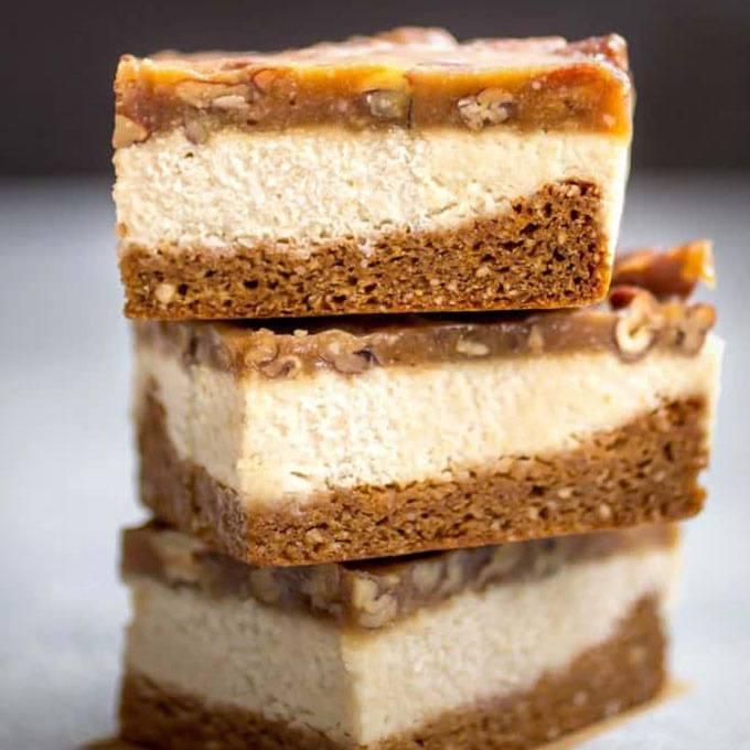 Paleo Pecan Caramel Cheesecake Bars