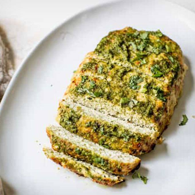 Paleo Pesto Turkey Meatloaf