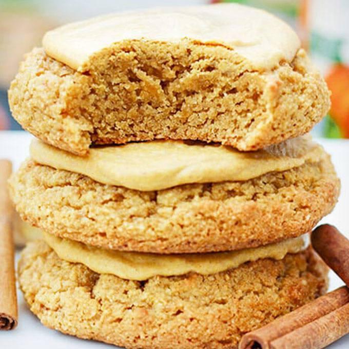 Paleo Sugar Cookies with Pumpkin Glaze