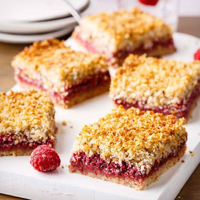 Raspberry Crumble Paleo Breakfast Bars