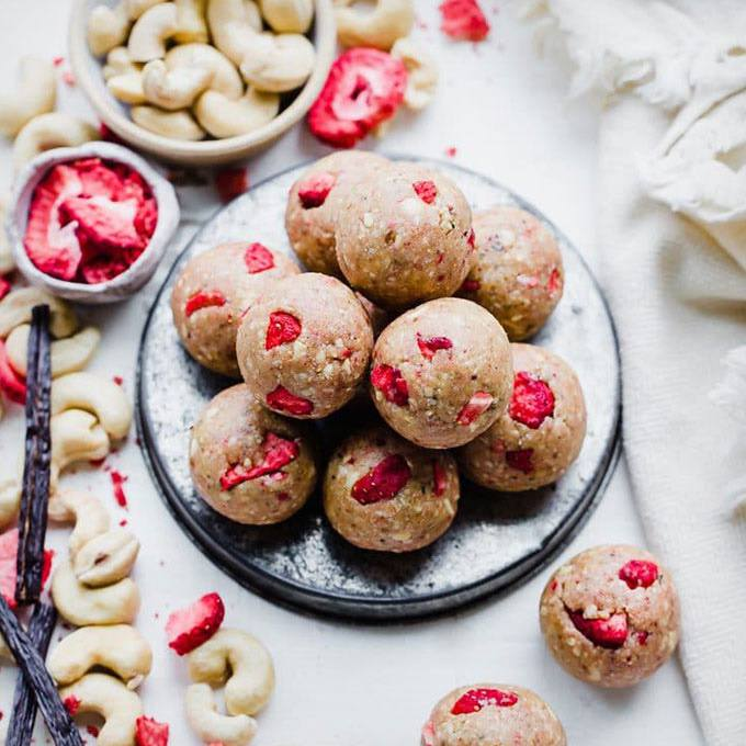 Strawberry Vanilla Bean Energy Balls