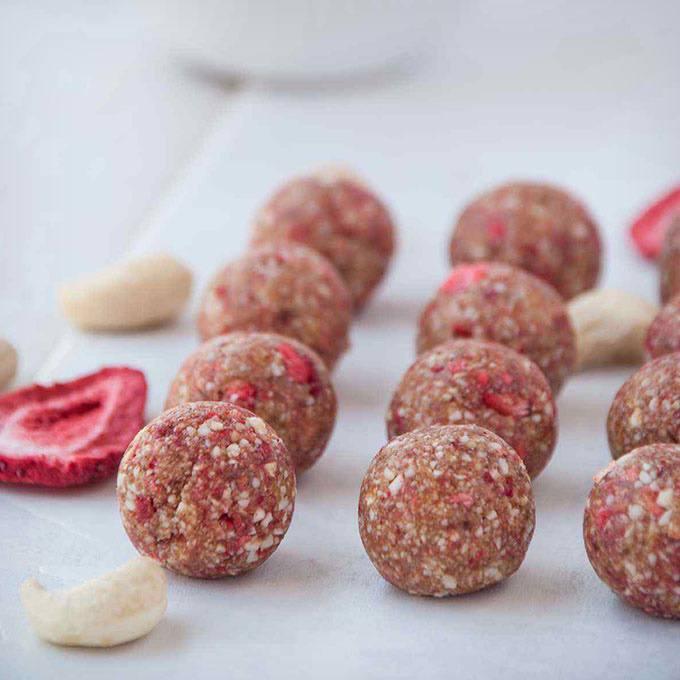 Tart Strawberry Cashew Energy Balls