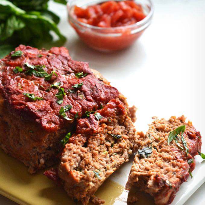 Whole30 Tomato Basil Turkey Meatloaf