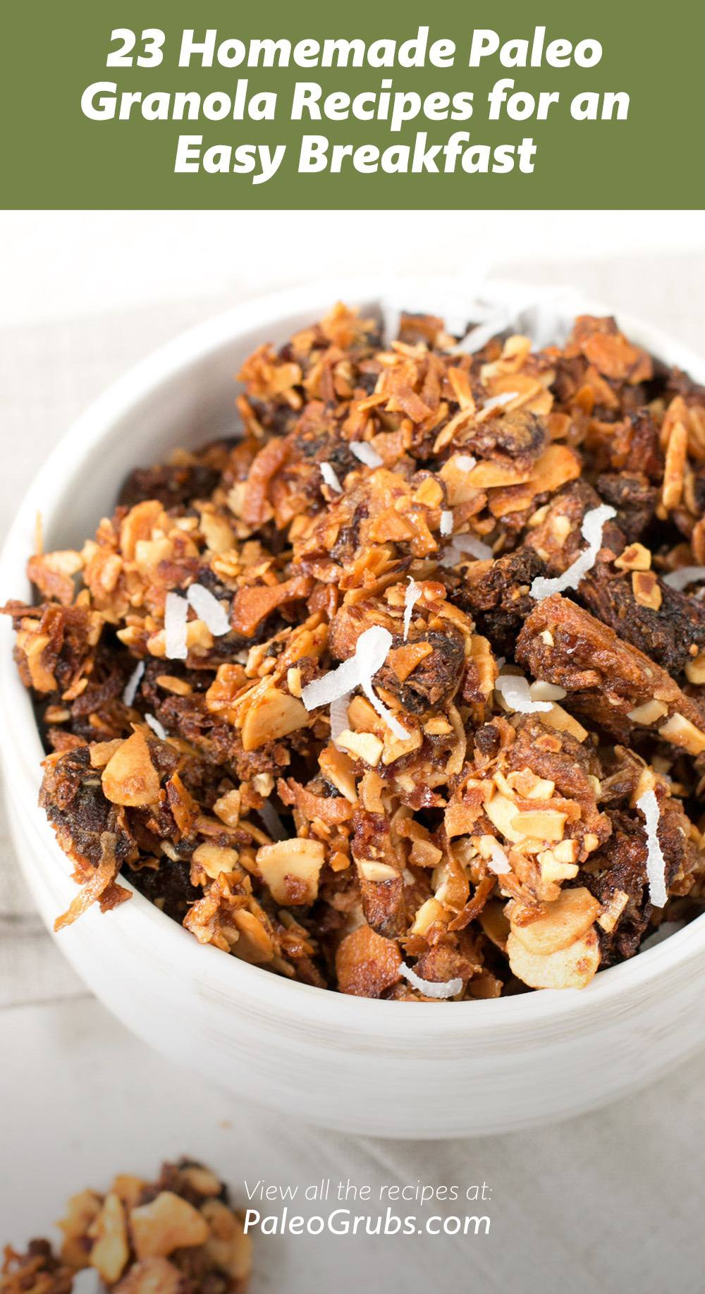 These grain-free, dairy-free granola recipes are a paleo staple for me and are the bomb as a healthy paleo snack, dessert or breakfast.