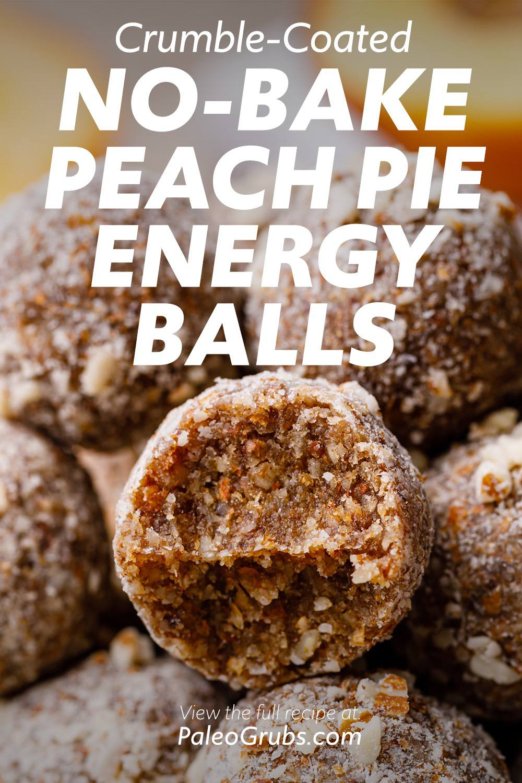 Crumble-Coated No-Bake Peach Pie Energy Balls