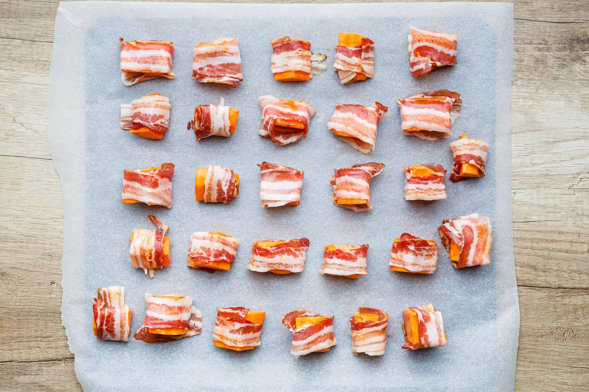 bacon wrapped sweet potato nuggets