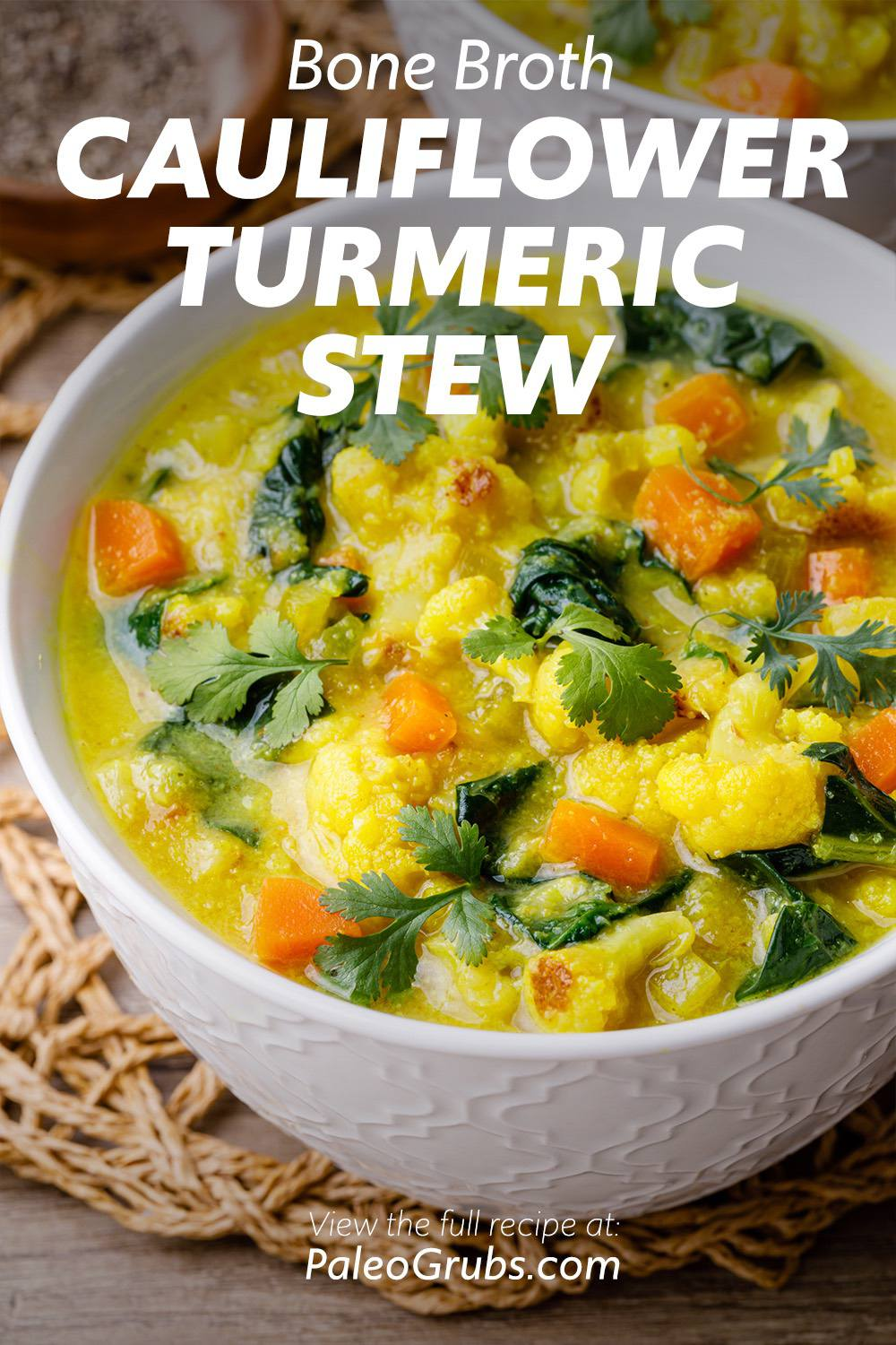 Bone Broth Cauliflower Turmeric Stew to Heal Your Gut