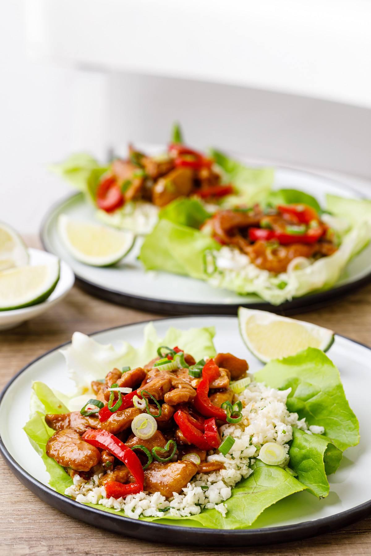 honey lime chicken lettuce wraps