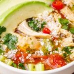 slow cooker chicken cilantro lime cauliflower rice soup