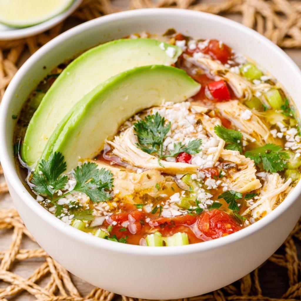 slow cooker chicken cilantro lime cauliflower rice soup