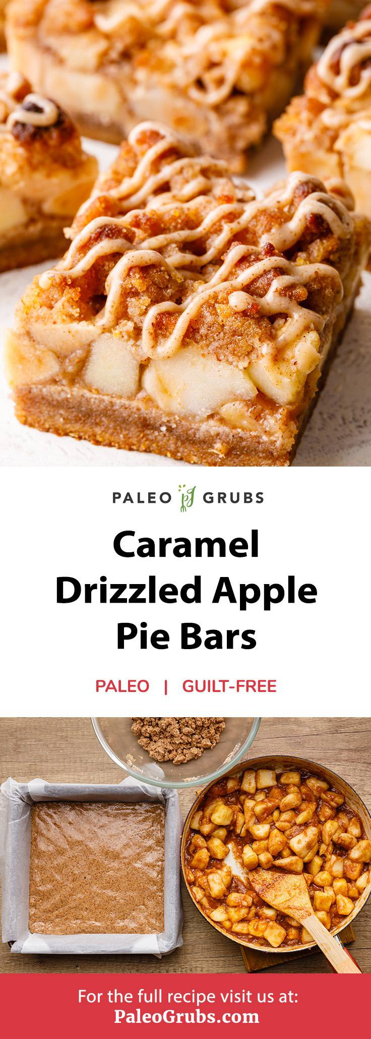 Caramel Drizzled Apple Pie Bars