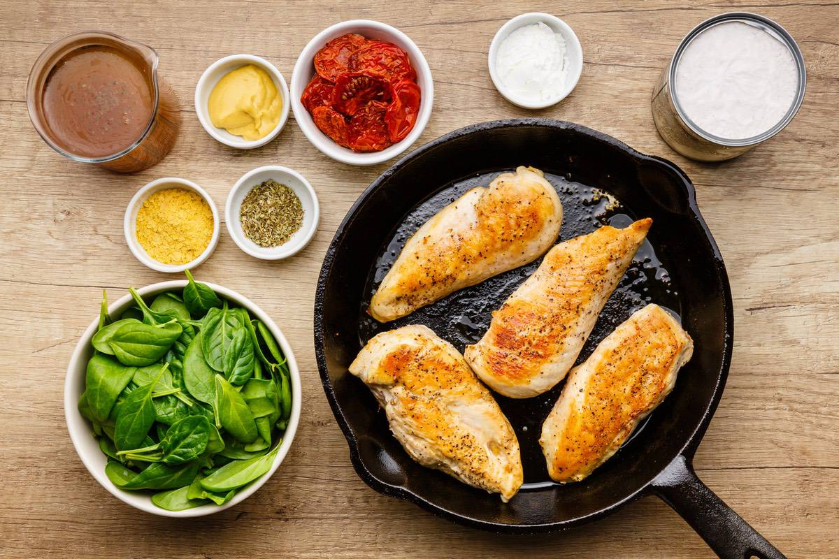 Home.fit one-pot-tuscan-chicken-skillet-2 One Pot Creamy Tuscan Chicken Skillet (Save-worthy Chicken Recipe)