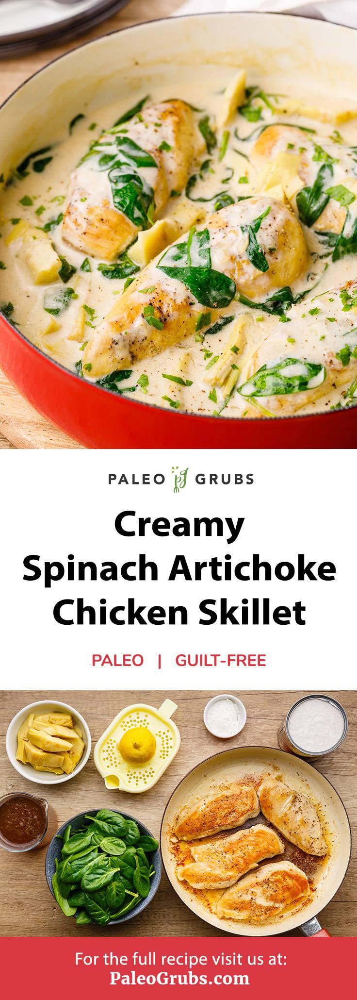 Spinach Artichoke Chicken Skillet
